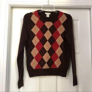 Tweeds 100% Cashmere Argyle Crewneck Sweater